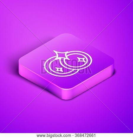 Isometric Line Washing Dishes Icon Isolated On Purple Background. Cleaning Dishes Icon. Dishwasher S