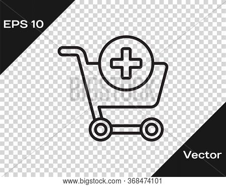 Black Line Add To Shopping Cart Icon Isolated On Transparent Background. Online Buying Concept. Deli