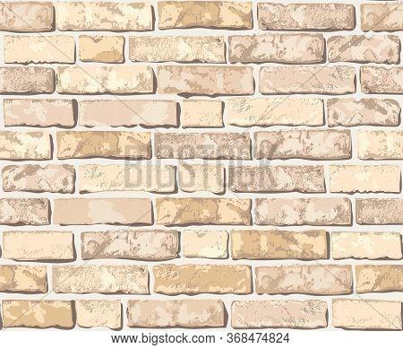 Realistic Vector Brick Wall Seamless Pattern. Flat Wall Texture. Beautiful Light Yellow Textured Bri