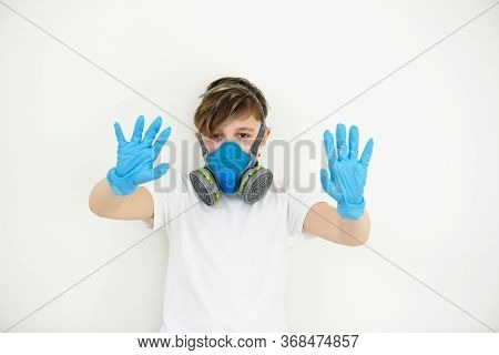 The Boy In Respirator. Protection. Safety Breathing Mask. Protect Corona Virus. Breathing Respirator