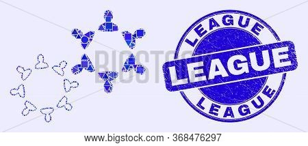 Geometric People Collaborations Mosaic Pictogram And League Seal. Blue Vector Rounded Distress Seal