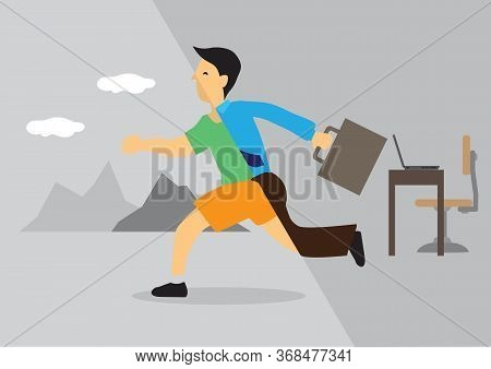 Businessman Transforms From Office Into Leisure Activity. Concept Of Work Life Balance, Transformati