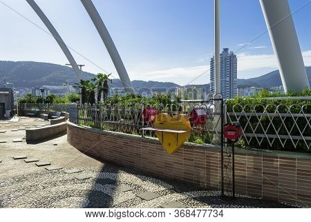Busan, South Korea, September 14, 2019: Cute Mail Boxes On The Landscaped Roof Of Jagalchi Market Wi