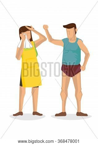 Man Beating Up His Wife. Domestic Violence Or Family Abuse Concept. Vector Illustration.