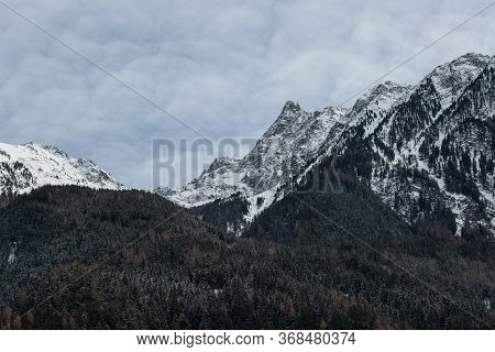 High Mountains With Fresh Snow In Sunny Winter Day. Top Aerial View. Innsbruck Ski Resort Panorama A
