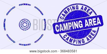 Geometric Round Perimeter Mosaic Icon And Camping Area Seal Stamp. Blue Vector Rounded Grunge Seal S