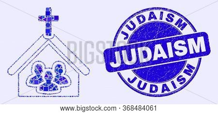 Geometric Church People Mosaic Icon And Judaism Seal Stamp. Blue Vector Round Scratched Seal With Ju