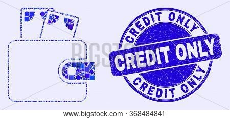 Geometric Cash Purse Mosaic Pictogram And Credit Only Seal Stamp. Blue Vector Round Distress Seal St