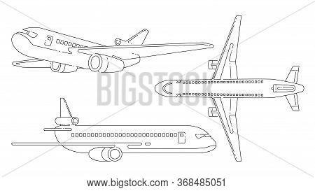 Aircraft Lineart Black And White Vector Illustration. Graphic Set.