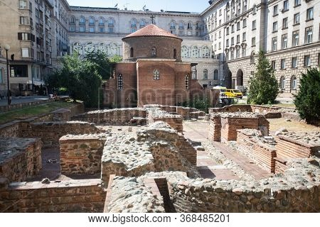 Sofia Bulgaria August 12, 2019 : Archaeological Excavation Of The Roman City Of Ulpia Serdica In Sof