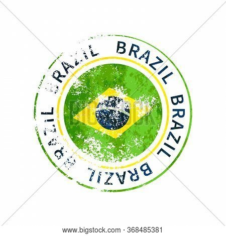Brazil Sign, Vintage Grunge Imprint With Flag On White