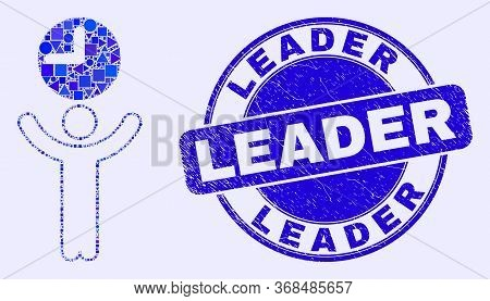 Geometric Time Manager Mosaic Pictogram And Leader Seal Stamp. Blue Vector Round Distress Seal Stamp