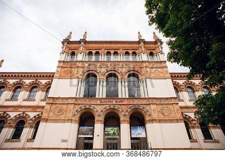 Milan. Italy - May 20, 2019: Facade of Milan Natural History Museum. Museo Civico di Storia Naturale di Milano.