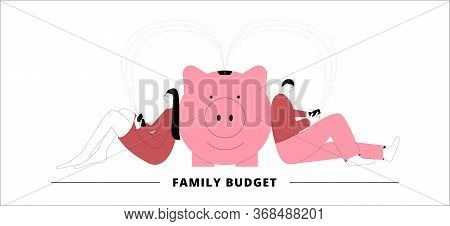 Vector Concept In Flat Style. Husband And Wife Are Sitting Near Piggy Bank Pigs And Transferring Mon