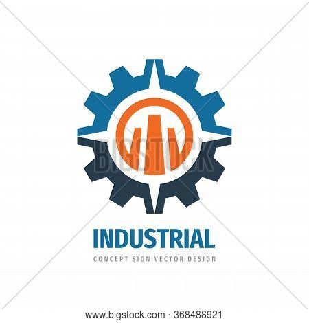Industrial Logo Template Design. Gear, Arrows Symbols. Abstract Cogwheel Concept Icon. Idustry Manuf