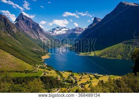 The Hjorundfjord And The Sunnmore Alps Near Trandal, More Og Romsdal, Norway.