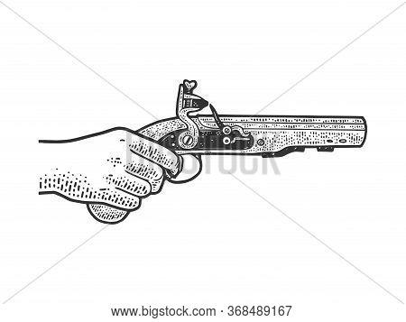 Flintlock Muff Pistol In Hand Sketch Engraving Vector Illustration. T-shirt Apparel Print Design. Sc