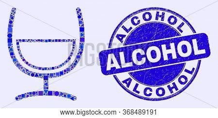 Geometric Mixture Glass Mosaic Icon And Alcohol Seal. Blue Vector Round Grunge Seal With Alcohol Tex