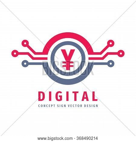 Digital Crypto Currency Chinese Yuan Logo Design. Chinese Electronic Money Icon Logo Sign. Vector Il
