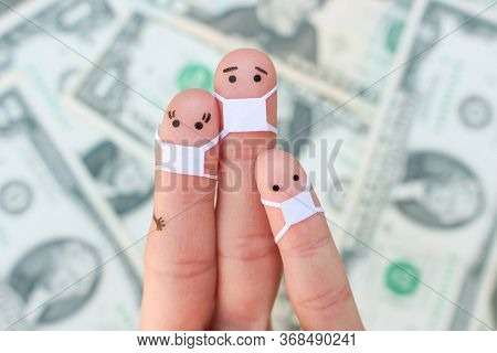 Fingers Art Of Family With Face Mask On Background Of Money.