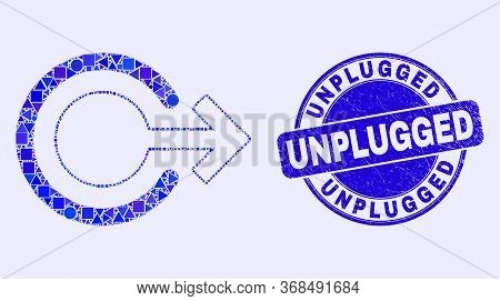 Geometric Logout Mosaic Pictogram And Unplugged Seal. Blue Vector Round Textured Seal Stamp With Unp