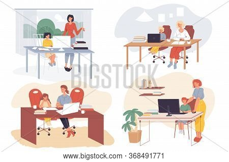 Kids Distance Learning, Online Education In Room. Homeschooling, E-learning Service, Education Softw