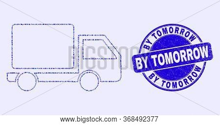 Geometric Lorry Mosaic Icon And By Tomorrow Seal. Blue Vector Rounded Scratched Seal Stamp With By T