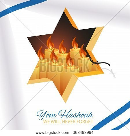 Holocaust Remembrance Day 27th Of January Template. Jewish Star Of David And Candles Behind White Ba