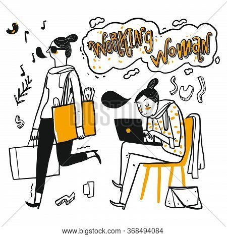 Activity Of Woman Have A Good Day Holding Bags Or Use Notebook And Flower Element On White Backgroun