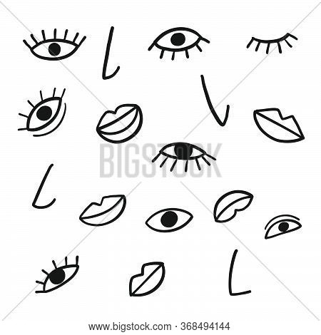 Hand Draw Vector Elements Mouth, Nose, Eyes