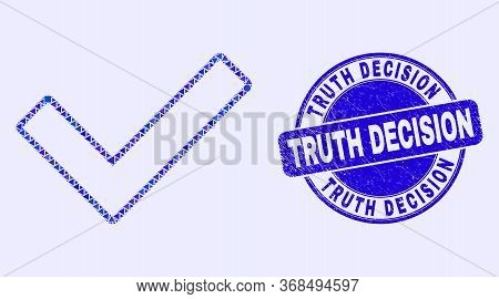 Geometric Validated Tick Mosaic Icon And Truth Decision Seal Stamp. Blue Vector Rounded Textured Sea
