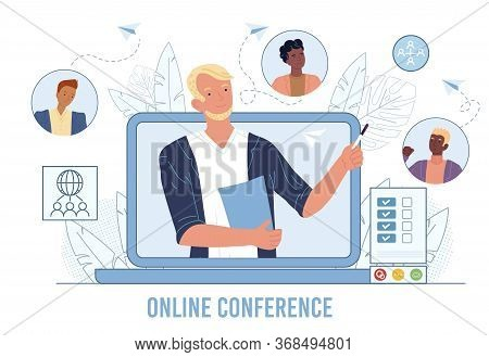 Online Business Video Conference, Meeting Friends. Teamwork, Communication. Internet Technology Glob