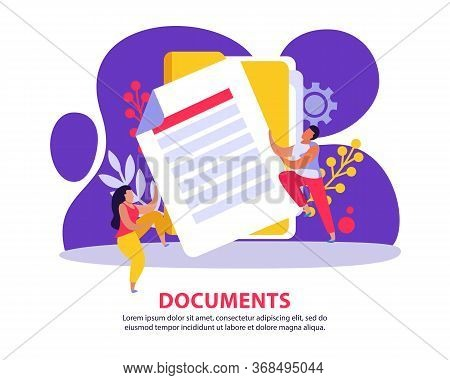 Employment Service And Employment Documents Flat Background With Images Of Paper Sheet With Doodle S