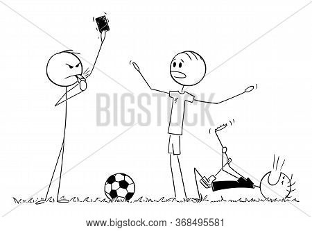 Vector Cartoon Stick Figure Drawing Conceptual Illustration Of Serious Football Or Soccer Referee Sh