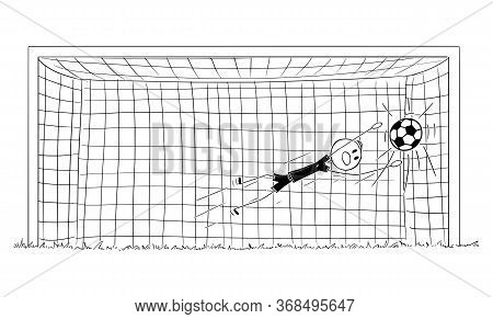 Vector Cartoon Stick Figure Drawing Conceptual Illustration Of Successful Football Or Soccer Goalkee