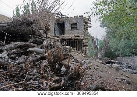 Ruins Of A Collapsed House In Leh Ladakh City, Jammu & Kashmir State, India - September 2018