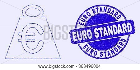 Geometric Euro Mass Mosaic Pictogram And Euro Standard Seal Stamp. Blue Vector Round Textured Seal S