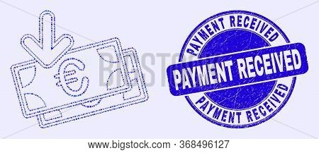 Geometric Euro Banknotes Income Mosaic Icon And Payment Received Seal Stamp. Blue Vector Round Distr