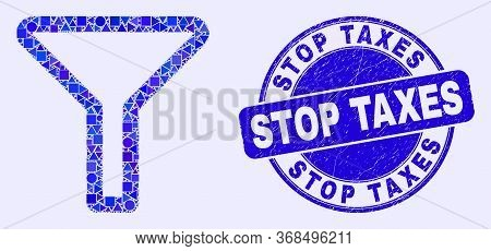 Geometric Filter Mosaic Icon And Stop Taxes Watermark. Blue Vector Rounded Distress Watermark With S