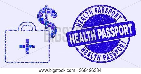 Geometric Medical Business Case Mosaic Icon And Health Passport Stamp. Blue Vector Round Textured St