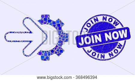 Geometric Integration Gear Mosaic Icon And Join Now Seal. Blue Vector Round Grunge Seal With Join No