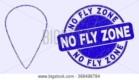 Geometric Map Pointer Mosaic Pictogram And No Fly Zone Seal Stamp. Blue Vector Rounded Distress Seal