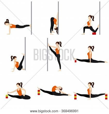 Stylized Woman Practicing Stretching Asanas With Props