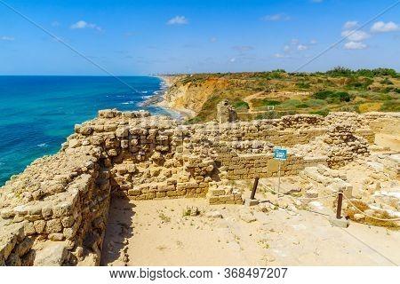 Herzliya, Israel - May 27, 2020: View Of The Crusader Fortress, In Apollonia National Park (tel Arsu