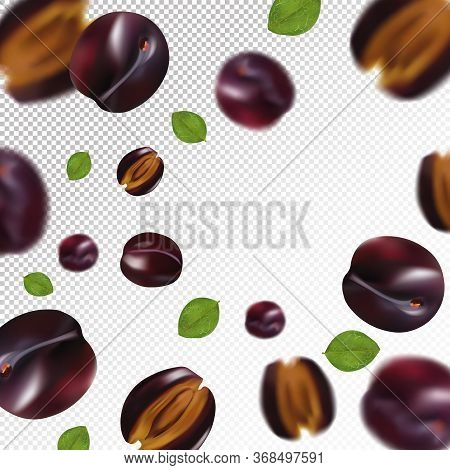 Plum Background. Flying Plum With Green Leaf On Transparent Background. 3d Realistic Fruits. Falling