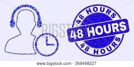 Geometric Operator Time Mosaic Pictogram And 48 Hours Stamp. Blue Vector Round Textured Stamp With 4