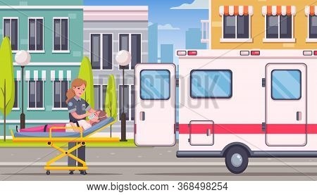 Paramedic Emergency Ambulance Cartoon Composition With Urban Outdoor Street Scenery And Medical Car