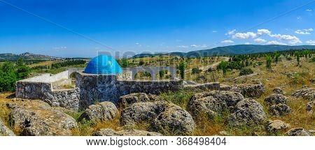 View Of The Elkana Avi Shmuel Tomb (the Father Of The Prophet Samuel), Meron, And Galilee Landscape,