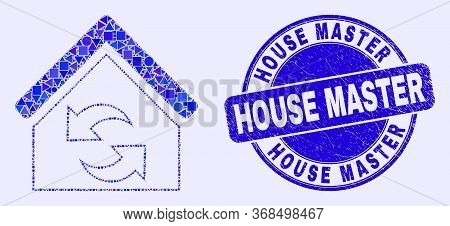 Geometric Refresh House Mosaic Icon And House Master Stamp. Blue Vector Rounded Textured Stamp With