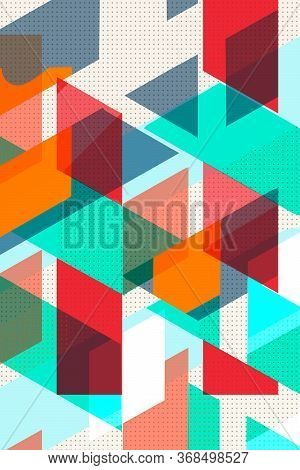Colorful Geometric Cover Swiss Modernism. Orange And Turquoise Red And Orange Texture, Abstract Patt